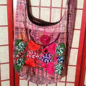GUC boho hippie pink orange floral print cloth bag
